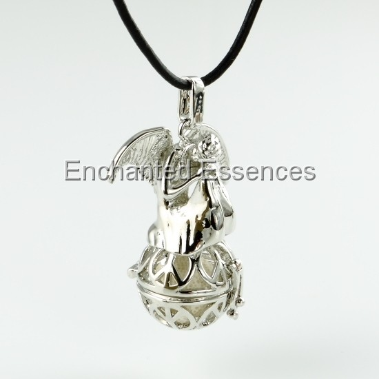 Angel on Ball Aroma Locket- White Lava Stone