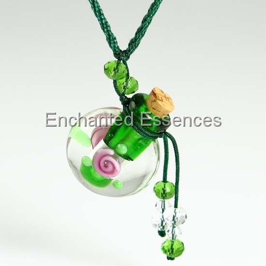 Glass Aroma Bottle Pendant with Green Cord