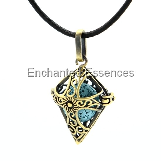 Brass Cross Locket Aroma Jewelry Blue Lava Stone