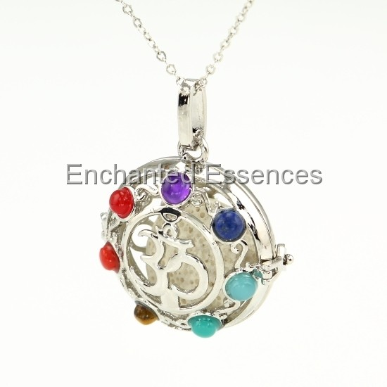 OM with Gemstones Aroma Locket Jewelry - White Lava Stone