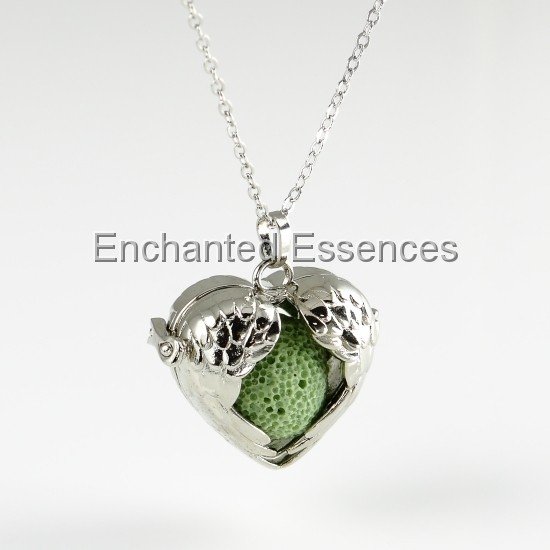 Heart Wings Locket Aroma Jewelry - Green Lava Stone