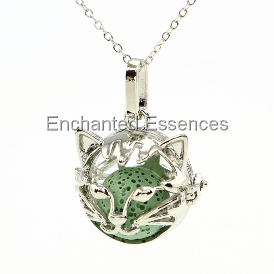 Cat Face Metal Locket Aroma Jewelry - Green Stone