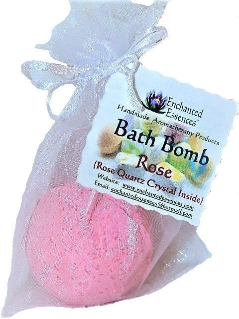 Bath Bomb with Rose Quartz Crystal Inside, Rose