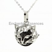 Cat Face Metal Locket Aroma Jewelry - Black Stone