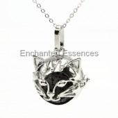 Cat Face Metal Locket Aroma Jewelry - Black Stone