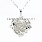 Heart Shape Locket Aroma Jewelry - White Lava Stone