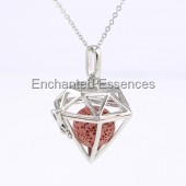 Hexagon Cage Locket Aroma Jewelry Red Stone