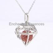 Hexagon Cage Locket Aroma Jewelry Red Stone