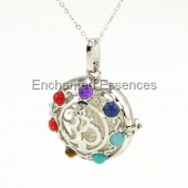 OM with Gemstones Aroma Locket Jewelry - White Lava Stone