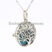 Flat Round Tree Metal Locket Aroma Jewelry -Blue Stone