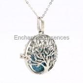 Flat Round Tree Metal Locket Aroma Jewelry -Blue Stone
