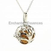 Round Tree Metal Locket Aroma Jewelry - Tan Stone