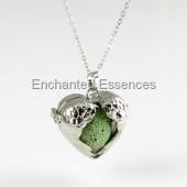 Heart Wings Locket Aroma Jewelry - Green Lava Stone