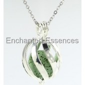 Open Stripe Metal Locket Aroma Jewelry - Green Stone