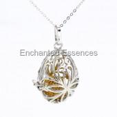 Tear Drop Metal Locket Aroma Jewelry - Tan Lava Stone